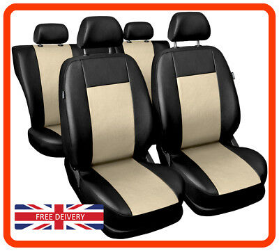 Universal Red //Black Eco-Leather Full Set Car Seat Covers for Vauxhall Corsa