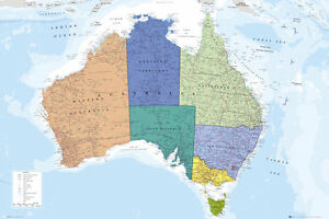Full Map Of Australia.Wall Map Of Australia Poster Cities Territories Geography Etc