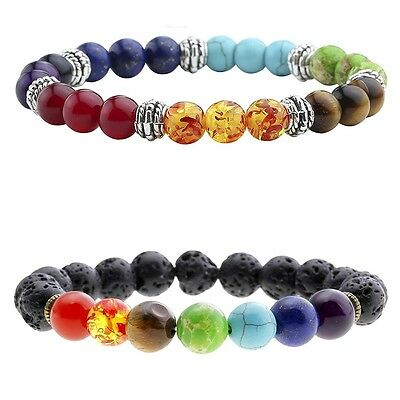 Bracelets Dependable Bracelet 7 Chakra Stone Beads,aromatherapy,healing,oil Difusser,set,gift Extremely Efficient In Preserving Heat Everything Else