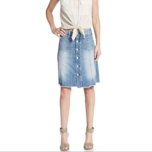 McGuire denim Colombier button front skirt