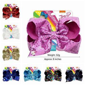 New 8 inch jojo Hair Bow Love sequins Clip Girl Kids Bowknot