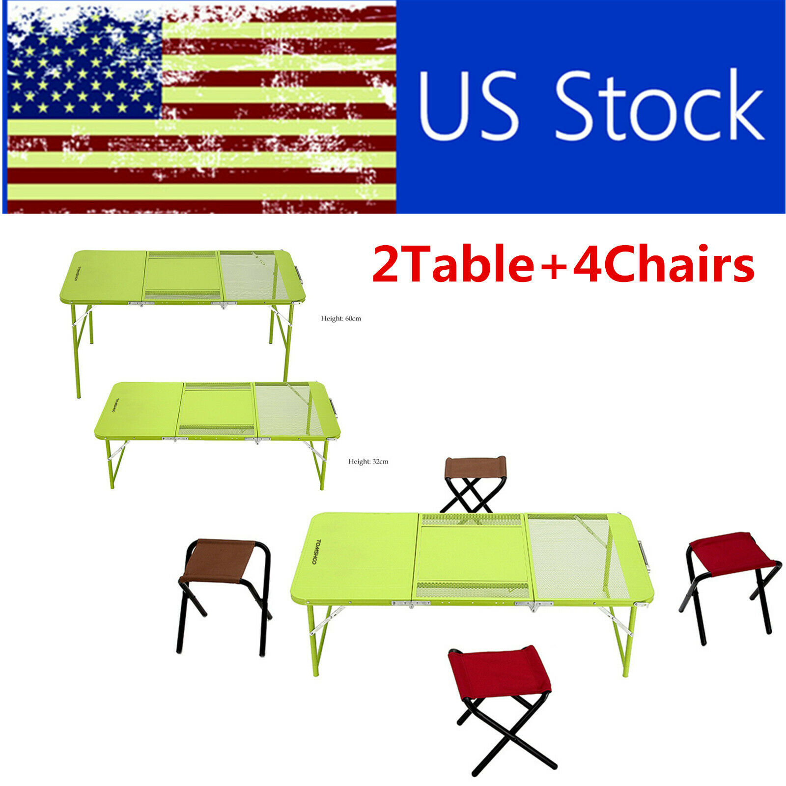 2Heights Combo Trible Treble Folding Table Desk with 4Chairs  Picnic Camping J7G4  hot sale