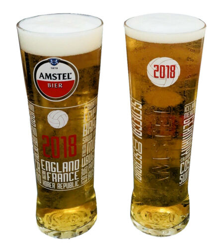Engraved Amstel Bier Beer Lager Glass 2018 Fifa World Cup
