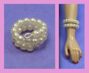 Dreamz-CREAM-WHITE-PEARL-SNAKE-BRACELET-for-Barbie-Doll-Jewelry-VINTAGE-REPRO