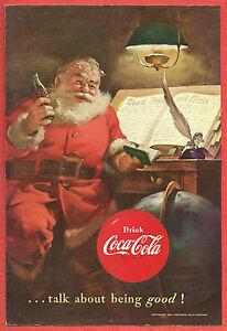 Coca Cola Babbo Natale.1951 Coca Cola Pubblicita Babbo Natale Bere Una Coca Controllare Il Suo Elenco Di Buoni Ragazzi E Ragazze Ebay