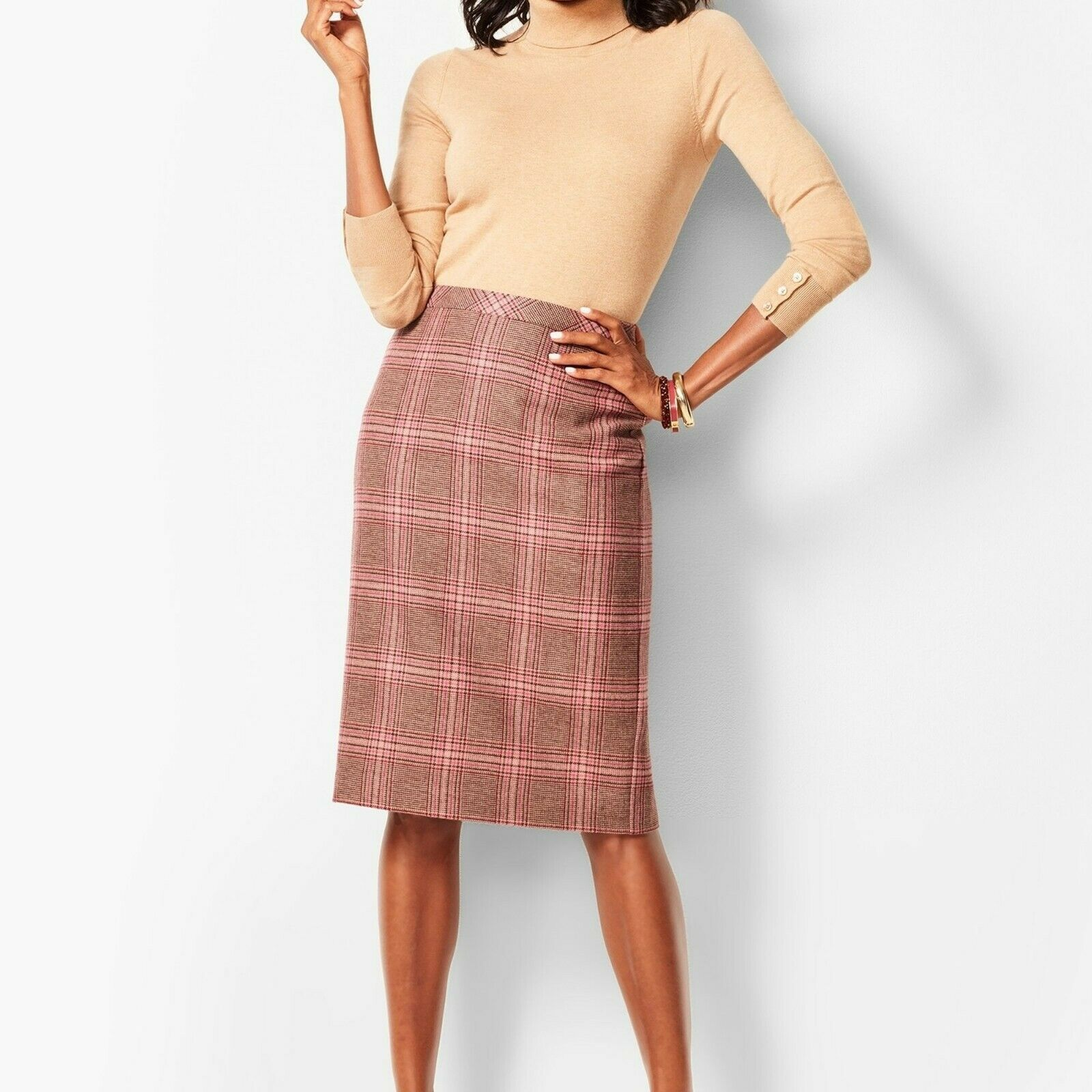 TALBOTS NWT  WOMEN PLUS GLEN PLAID FULLY LINED PENCIL SKIRT BROWN CORAL 14W