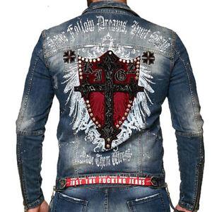 Kingz-Fireline-Biker-Mens-Jeans-Jacket-Denim-Biker-Jacket-Blue-All-Sizes-New