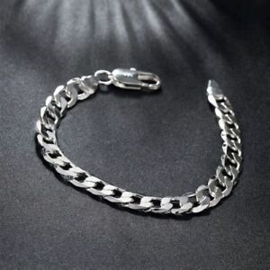 925-Silber-Uberzogene-8-MM-Armband-Kette-Panzerkette-Herren-Herren-Schmuck-Neu