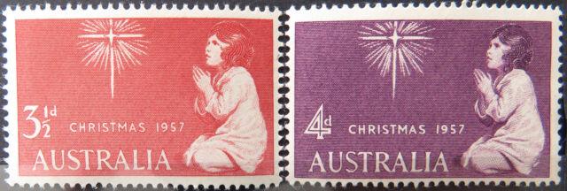 1957 Australian Pre Decimal Stamps: Christmas - Set of 2 MNH