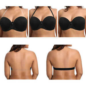 45031a0765664 UK Ladies Strapless Push Up Bra Wedding Invisible Clear Back Strap ...
