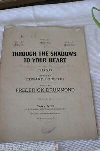 "SPARTITO MUSICALE D'EPOCA PIANOFORTE E VOCE ""TROUGH THE SHADOWS TO  YOUR HEART"""