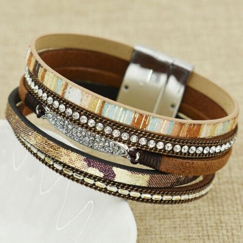 Hot Femmes Bohème cuir multicouche strass Bracelet Aimant Wrap Bangle