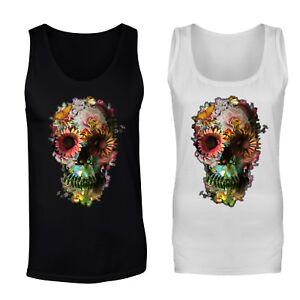 9405b161d61 Details about Floral Skull Skeleton Flowers Skull Vest Tank Top - Mens,  Womens Sizes
