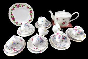 Nell-Pretty-22-Piece-Vintage-Shabby-Chic-Mismatch-China-Tea-Set