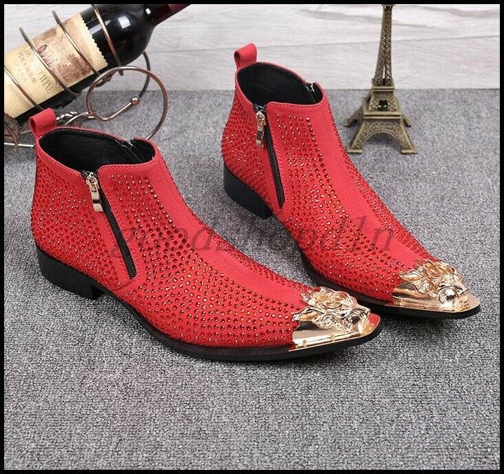 Zapatos para hombre Discoteca De Metal Puntera Puntiaguda Diamantes De Imitación Alta Punk Tobillo botas Cremallera superior