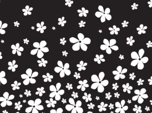 A4 Black With White Flowers Print Edible Waferrice Fondant Paper