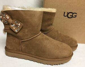 07b523286b2 Details about Ugg Australia Mini Bailey Bow Brilliant Chestnut Shearling  Suede 1019725 Bling