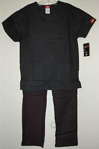 Dickies scrubs Black Cargo female scrub set Ship Free elastic pant & top NEW