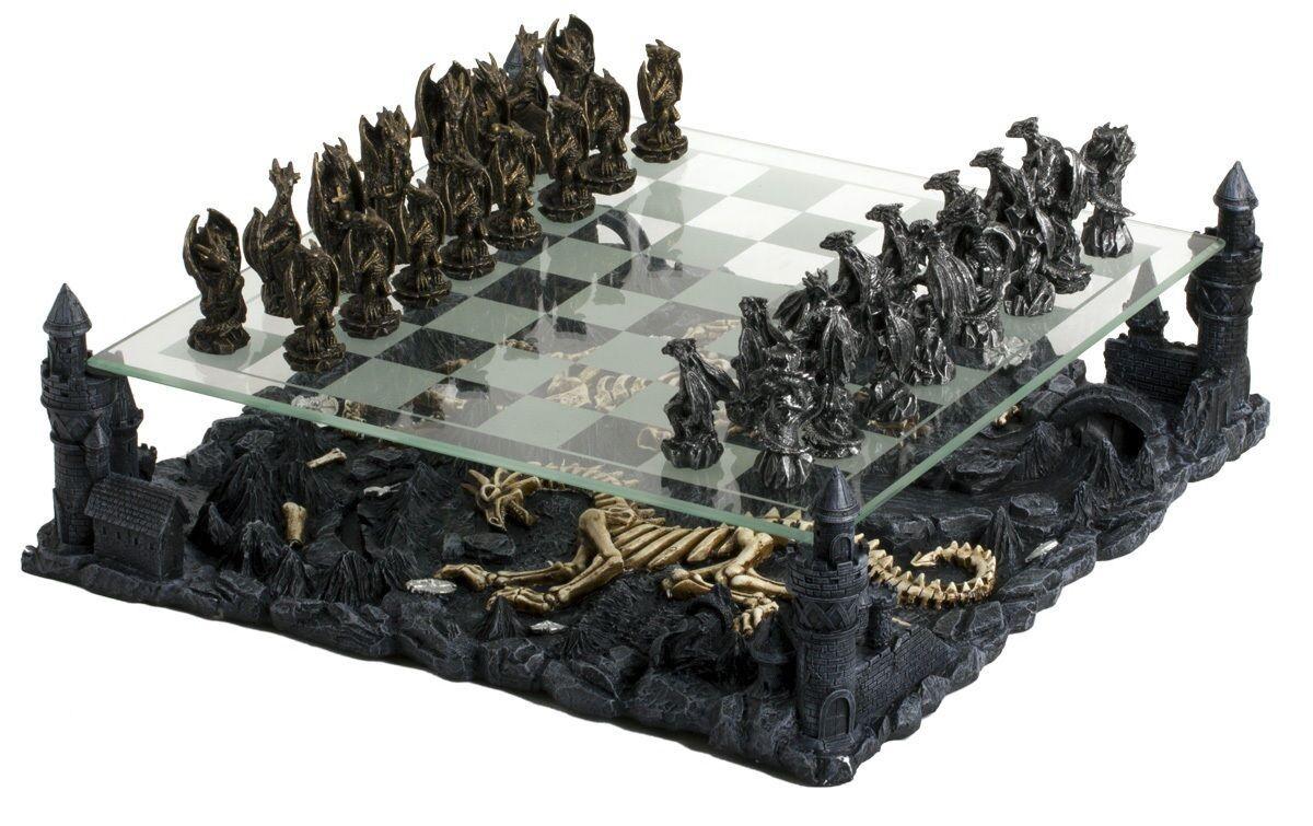 15  Dragon Kingdom Chess Set with Castle Platform Metal Pewter 2 7 8  King