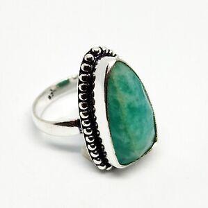 925 Sterling Silver Amazonite Ring Size 7 Natural 8mm Amazonite Gorgeous Amazonite