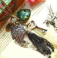 collier sautoir chaîne pendentif breloque clé paon feuille idée cadeau !! NEUF