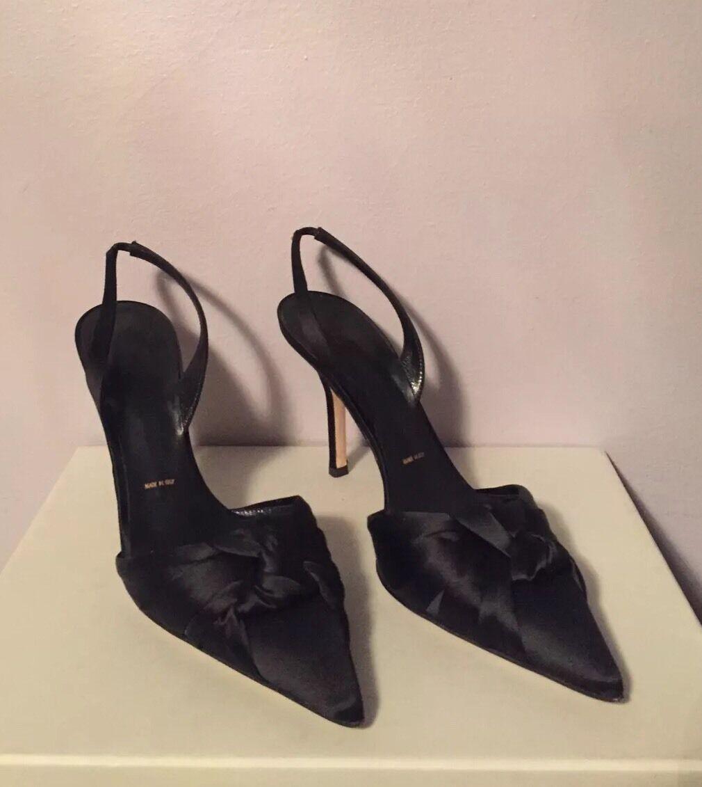 VERA WANG SATIN SLINGBACK HEELS 7.5 SIZE 7.5 HEELS BLACK Schuhe 0f1a94