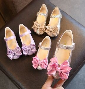 Details About Princess Flats Bow Shoes For Infant Baby Girl Children Kids Dance Wedding Shoes