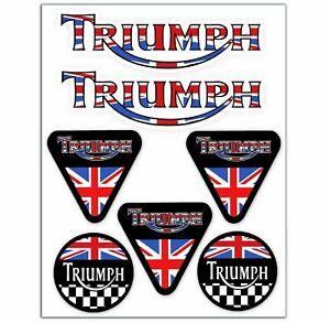 Set-7-PVC-Vinyle-Autocollants-Triumph-Speed-UK-GB-Drapeau-Stickers-Voiture-Auto