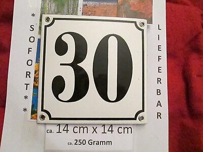 Besorgt Emaille Hausnummer Nr. 30 Schwarze Zahl Auf Weißem Hintergrund 14cm X 14cm .....