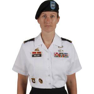 Womens army service short sleeve uniform asu dress bright for White military dress shirt