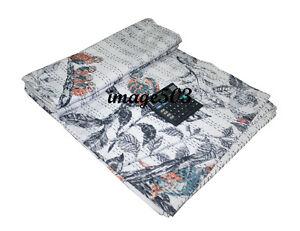 Handmade Quilt Vintage Kantha Owl Print Bedspread Throw Cotton Blanket Gudari