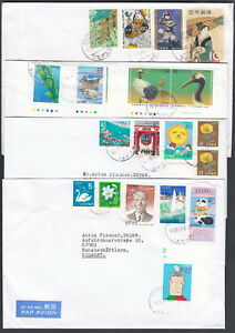 Japanese-Japon-Japan-Asia-Asian-FIVE-larger-1980s-covers-with-multiple-stamps