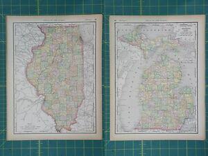 Illinois michigan vintage original 1894 rand mcnally world atlas map image is loading illinois michigan vintage original 1894 rand mcnally world gumiabroncs Gallery