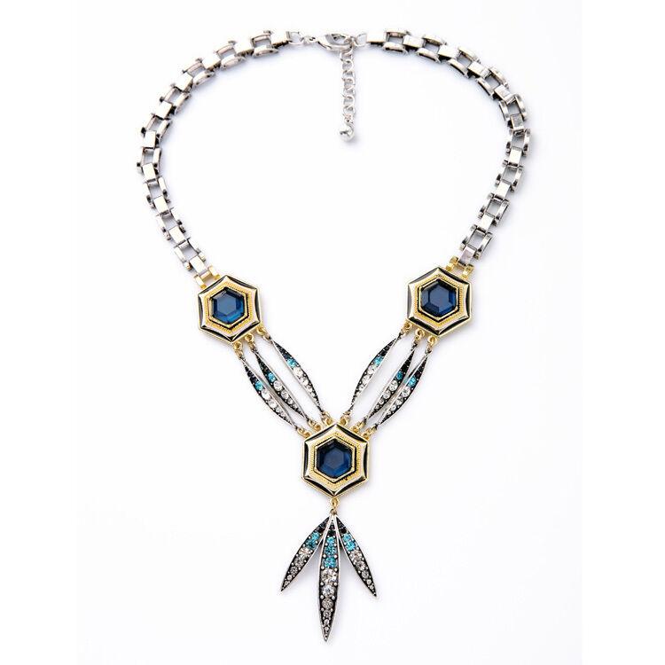 Collier silveré Mi Long Pendantif Feuille Art Deco blue Gros Chaine Punk LL 1