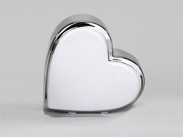 Skulptur liegendes Herz 10x10cm weiß silber Keramik Formano Dekobjekt