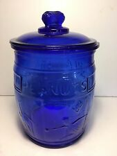 Planters~Running~Mr. Peanut Cobalt Blue Counter Container Glass Barrel Jar w/Lid