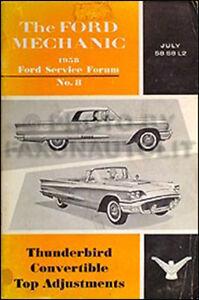 1958 Ford Thunderbird Convertible Top Adjustment Manual