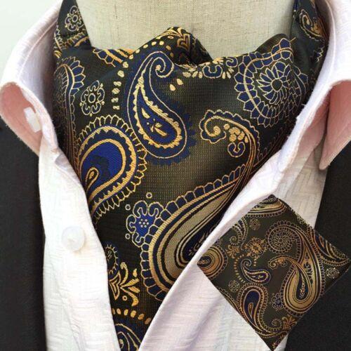 Mens Formal Floral Paisley Cravat Ascot Matching Hanky Necktie Pocket Square Set