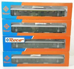 ROCO-44203A-44204A-44485-HO-4-AUSTRIAN-OBB-GREEN-LIVERY-EXPRESS-PASSENGER-CARS