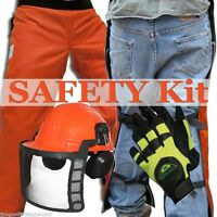 Chain Saw Safety Kit For Winter,35 Chaps,full Helmet System,chainsaw Gloves