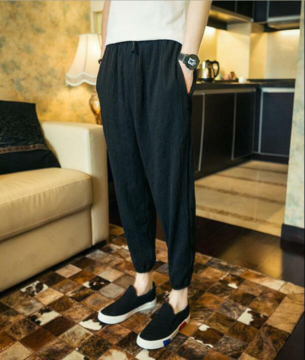 Fashion Men's Loose Casual Linen Blend Harem Pants Youth Fashion Trousers b117