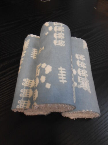 Chambray Trains Burp Cloths Set of 3 Towelling Backed GREAT GIFT IDEA!