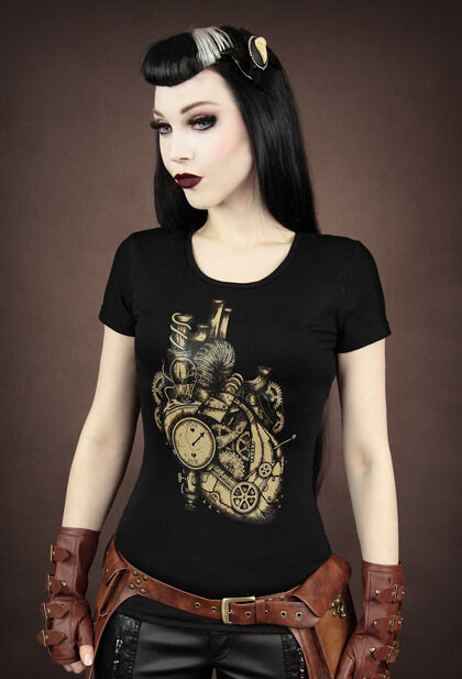 Restyle T-Shirt Iron Heart Mechanical Steampunk Herz Gothic Punk XS S M L XL XXL