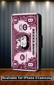 Betty-Boop-Disney-Animado-Dibujos-Piel-Sintetica-Funda-Abatible-para-Telefono