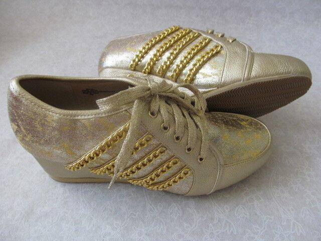 JOAN BOYCE METALLIC GOLD WEDGE COMFORT Schuhe SIZE 10 M BOX - NEW W BOX M 81550c