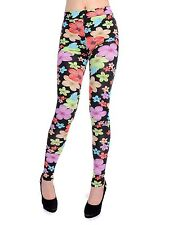 Women S/M Fit Black Multicoloured Psychedelic Flower Power Print Leggings