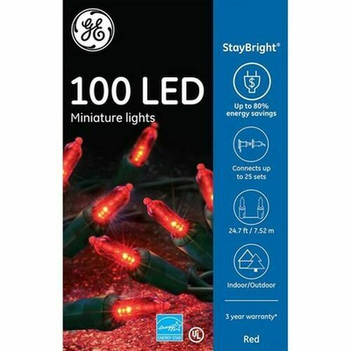 GE StayBright 100-Count 24.75-ft Constant Red Mini LED Plug-In Christmas