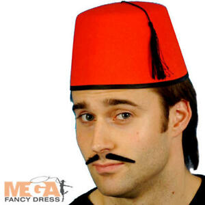 c5857b62ce592 Red Felt Fez Hat Fancy Dress Turkish Tommy Cooper Costume Mens ...