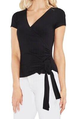 Vince Camuto Women's Wrap Blouse Black Size Large L Knit Cap Sleeve $59 #203  | eBay