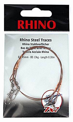 Zebco Rhino Stainless Steel Tippet 7x7 with Carabiner and Swirl 2 Piece VARIOUS
